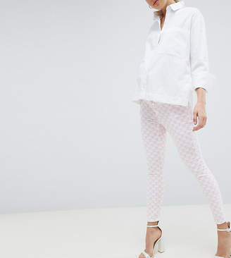 Asos DESIGN Maternity Ridley High Waist Skinny Jeans In Pink Mono Print