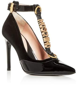Moschino Women's Velvet & Patent Leather T-Strap Pumps