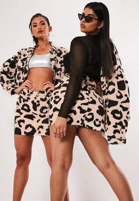 305a27a7e0 Missguided Plus Size Pink Leopard Print Denim Co Ord Mini Skirt, Pink