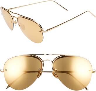 Linda Farrow 60mm Mirrored 22 Karat Gold Aviator Sunglasses