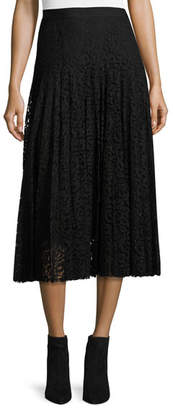 Rebecca Taylor Pleated Lace Midi Skirt, Black