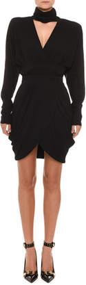 Versace Long-Sleeve High-Collar V-Neck Faux-Wrap Cocktail Dress