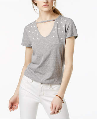 Ultra Flirt By Ikeddi Juniors' Embellished Choker T-Shirt