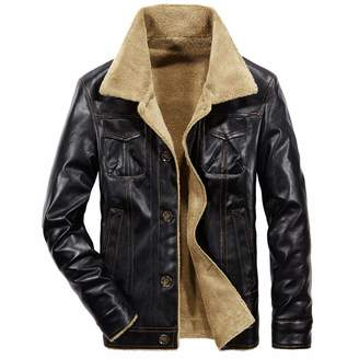 910407881e7 sensitives 2019 New Men s Leather Jacket PU Coats Mens Thermal Outerwear  Winter Fur Male Fleece Jackets