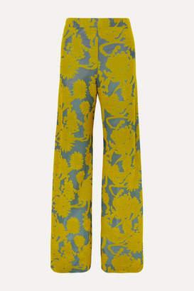 Jil Sander Floral Stretch-jacquard Wide-leg Pants - Yellow