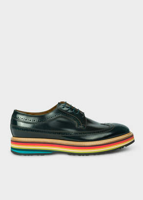 Paul Smith Men's Dark Green Leather 'Grand' Brogues With Striped Soles