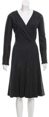 Oscar de la Renta Wool Surplice Midi Dress Grey Wool Surplice Midi Dress
