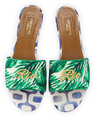 Aquazzura Rio Palm-Print Slide Sandals, Green Pattern