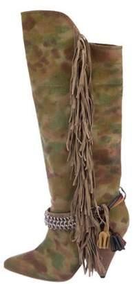Isabel Marant Embellished Fringe Pointed-Toe Knee-High Boots Green Embellished Fringe Pointed-Toe Knee-High Boots