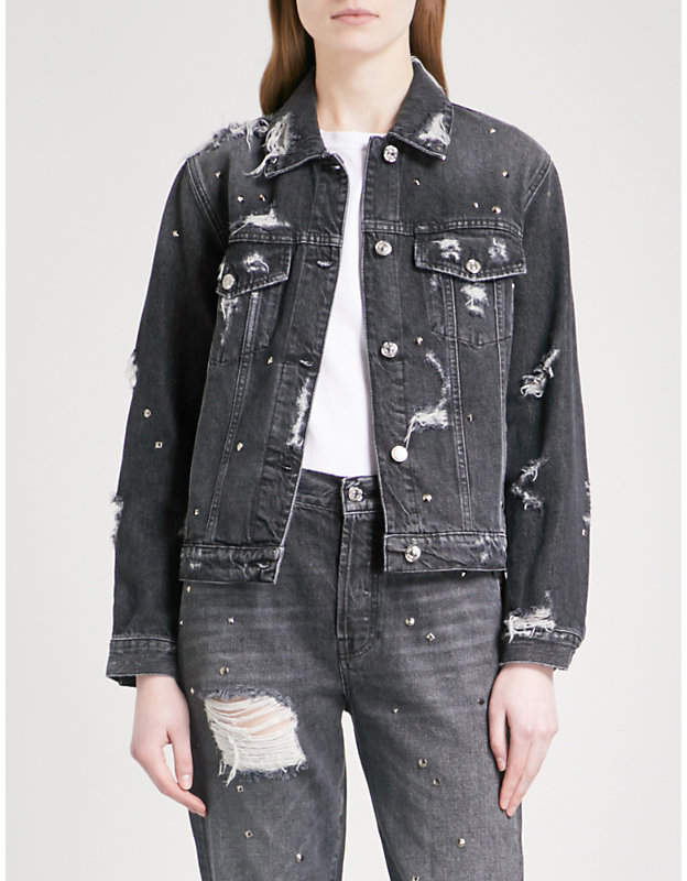 Studded denim boyfriend jacket