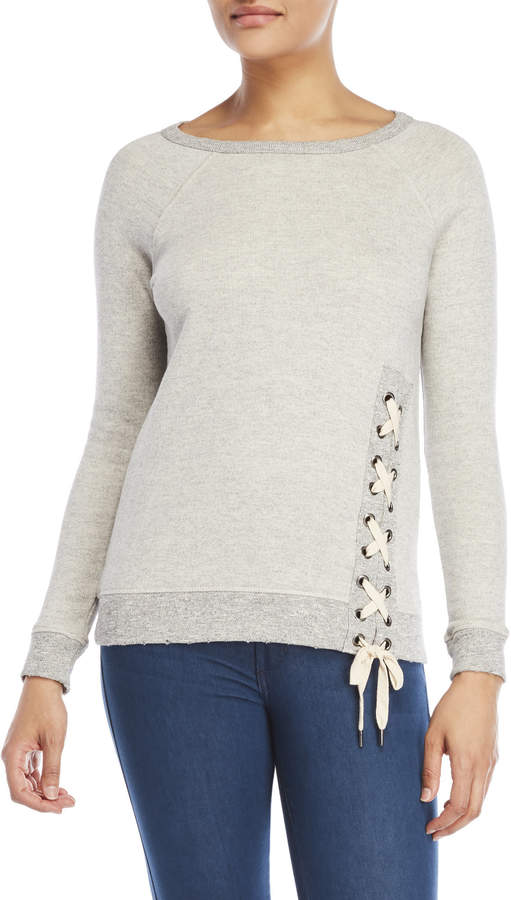 Workshop Petite Lace-Up French Terry Sweatshirt