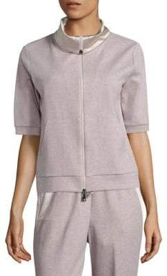 Peserico Charmeuse-Trim Sweatshirt Jacket