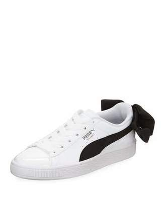 Puma Basket Bow Two-Tone Leather Sneakers