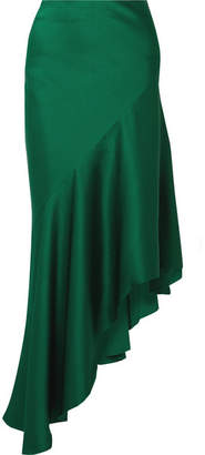 Haider Ackermann Asymmetric Satin-crepe Midi Skirt - Emerald