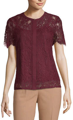 Liz Claiborne Short Sleeve Round Neck Knit Lace Blouse