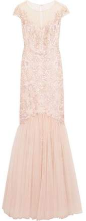 Marchesa Embroidered Embellished Tulle Gown