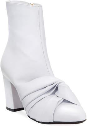 No.21 No. 21 Leather Knot Block-Heel Booties