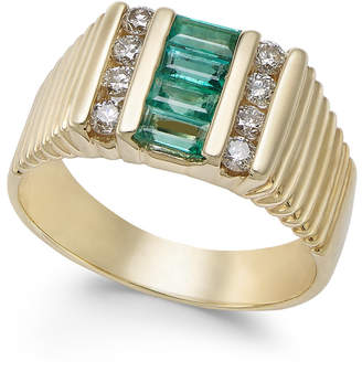 Macy's Men's Emerald (3/4 ct. t.w.) & Diamond (2/5 ct. t.w.) Ring in 14k Gold