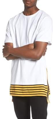 PRPS Elongated Stripe Side Zip T-Shirt