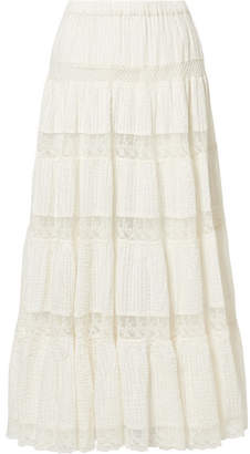 Mes Demoiselles Havilah Lace And Crochet-trimmed Pintucked Cotton-voile Maxi Skirt - Ivory