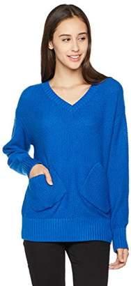 True Angel Women's V-Neck Long-Sleeve Patch Pocket Pullover M