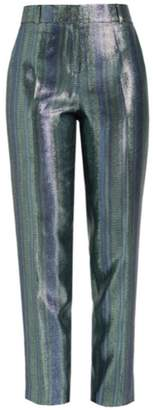 WtR - Vesper Blue Metallic Silk High Waist Suit Trousers