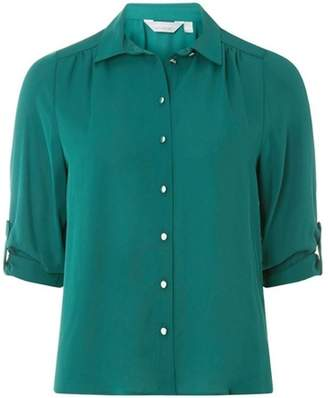 Dorothy Perkins Womens Petite Green Roll Sleeve Shirt