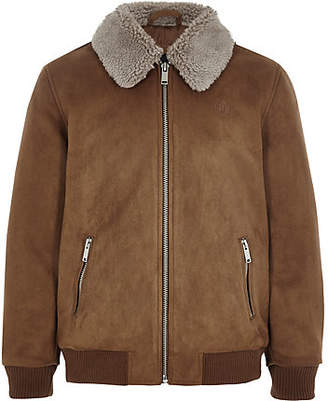 River Island Boys brown suedette Fleece collar bomber jacket