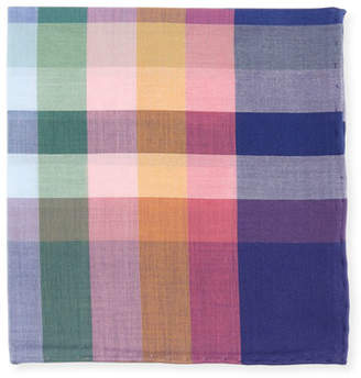 Simonnot Godard Madras Plaid Cotton Pocket Square