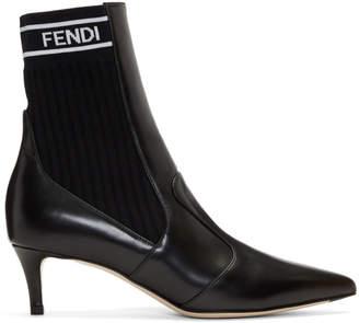 Fendi Black Heeled Sock Boots