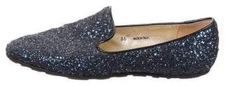 Jimmy Choo Round-Toe Glitter Loafers