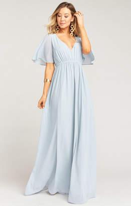 Show Me Your Mumu Emily Empire Maxi Dress ~ Steel Blue Chiffon