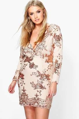 boohoo Plus Sequin Plunge Bodycon Dress