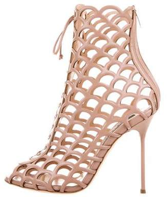 Sergio Rossi Laser Cut Cage Ankle Boots w/ Tags