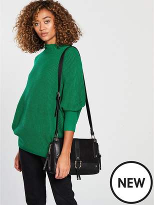 Very Funnel Neck Ribbed Jumper - Evergreen