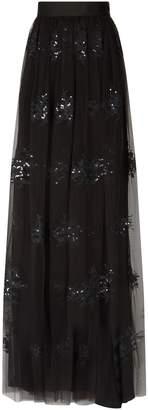 Brunello Cucinelli Sequin Embroidered Tulle Maxi Skirt