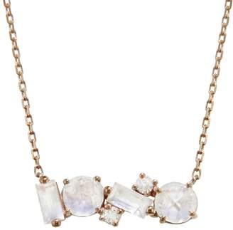 Suzanne Kalan KALAN By Mini Mixed Bar Rainbow Moonstone and Diamond Necklace - Rose Gold