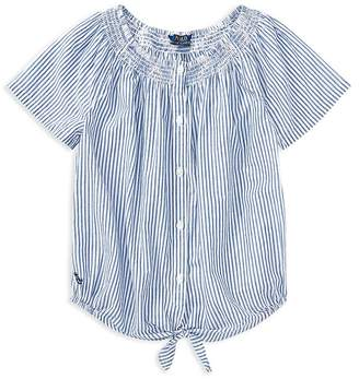 Polo Ralph Lauren Girls' Cotton Striped Tie-Front Top - Big Kid