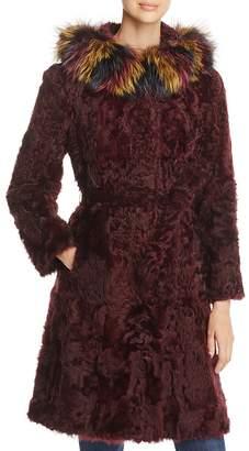 Maximilian Furs Fox Fur Hood Kalgan Lamb Fur Coat