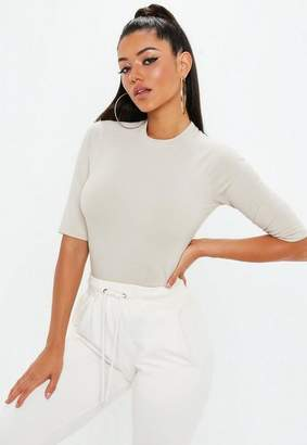 Missguided Nude High Neck 3/4 Sleeve Fitted T Shirt