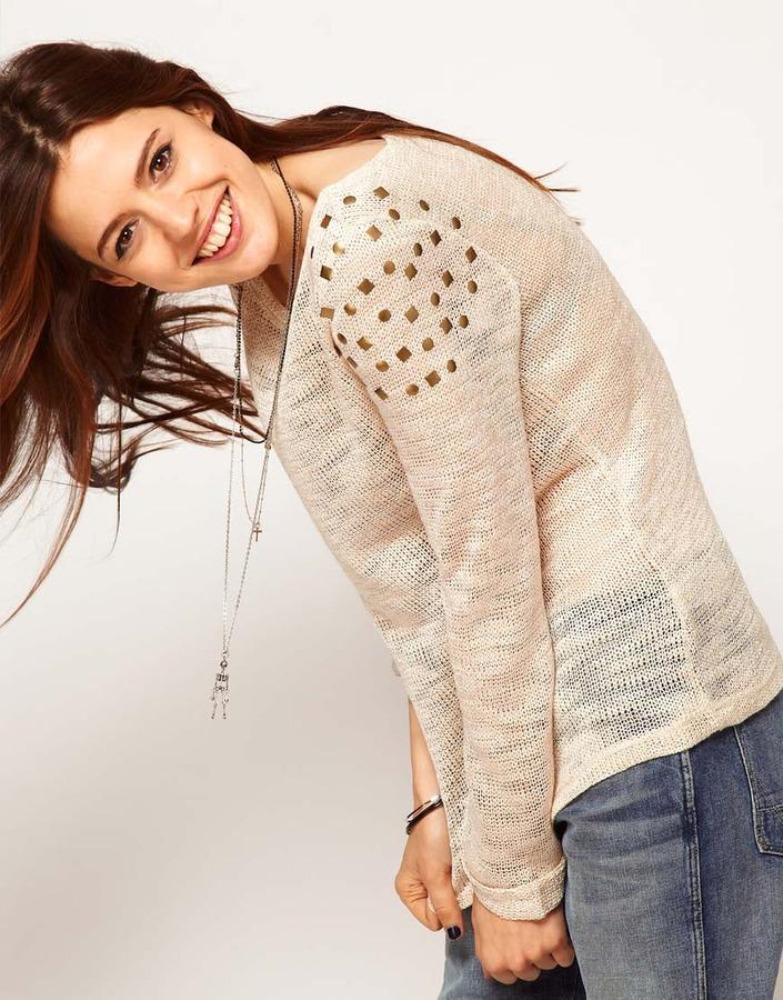 Asos Studded Sweater In Slub