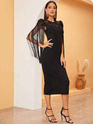 Shein Lace Yoke Fringe Embellished Slit Back Dress