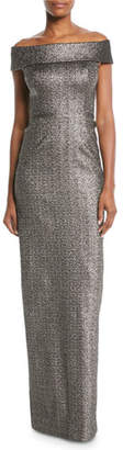 Rickie Freeman For Teri Jon Stretch Jacquard Metallic Off-the-Shoulder Column Gown