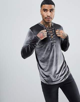 Asos Longline Long Sleeve T-Shirt With Deep Lace Up Neck In Velour