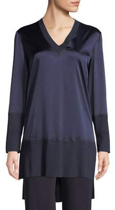 Misook V-Neck Charmeuse and Jersey Combo Tunic Top