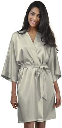 bc53c849f912 AW Womens Robe Short Satin Kimono Robe Soft Bathrobe Sleepwear V-Neck