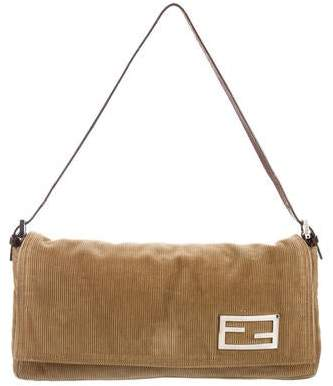 Fendi Leather-Trimmed Corduroy Shoulder Bag