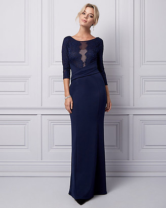 Le Château Lace & Knit Crepe Illusion Gown