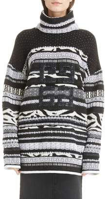 Givenchy Sequin Logo Jacquard Wool Blend Sweater