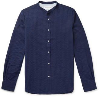 Officine Generale Grandad-Collar Striped Cotton-Jacquard Shirt